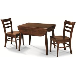 Cochrane Downtown: Solid Mahogany 3-Piece Drop-Leaf Table & Chair Set