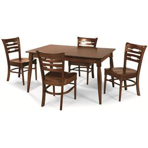 Cochrane Downtown: Solid Mahogany 5-Piece Rectangular Table Set