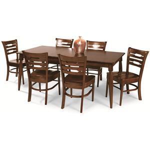 Cochrane Downtown: Solid Mahogany 7-Piece Rectangular Table Set