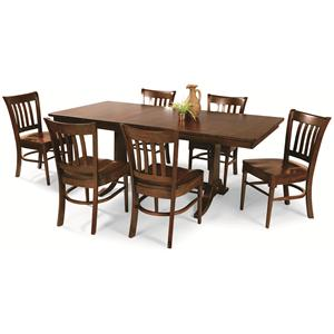 Cochrane Downtown: Solid Mahogany 7-Piece Trestle Table Dining Group