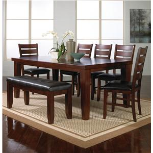 Crown Mark Bardstown 7 Piece Table Set w/ 5 Chairs & 1 Bench