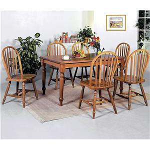 Crown Mark Windsor Solid 7 Piece Dining Table and Side Chairs Set