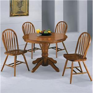 Crown Mark Windsor Solid 5 Piece Dark Oak Round Table Set