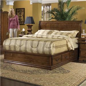 Furniture Traditions Alder Hill Queen Sleigh Headboard Bed with Pedestal