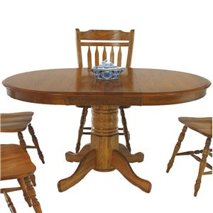 "GS Furniture American Classic Oval Pedestal Table with 18"" Leaf"