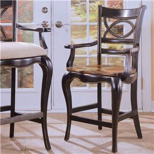 Hooker Furniture Preston Ridge Oval Back Bar Stool with Wood Seat