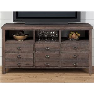 """Jofran Falmouth Weathered Grey 60"""" Console with Six Drawers"""