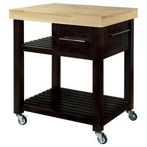 John Thomas Dining Essentials 1-Drawer 2-Shelf Kitchen Cart