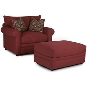 Klaussner Comfy Chair and Ottoman