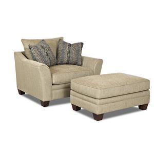 Klaussner Posen Chair and Ottoman Set