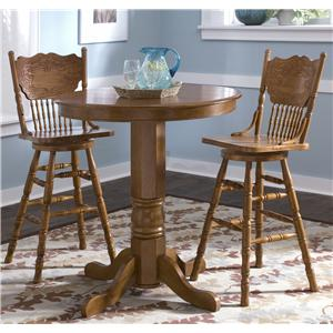 Liberty Furniture Nostalgia  Round Pub Table with 2 Press Back Barstools