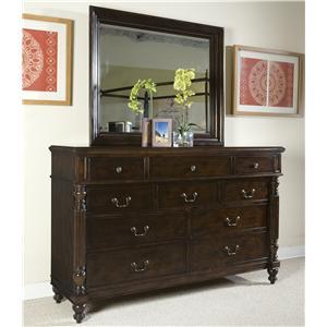 Panama Jack by Palmetto Home Old Havana 10-Drawer Dresser & Landscape Mirror Set