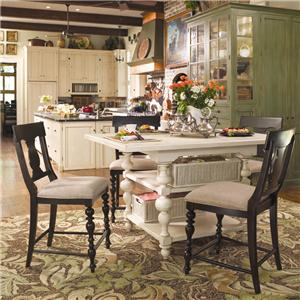 Paula Deen by Universal Paula Deen Home Gathering Table Set w/ 4 Counter Chairs