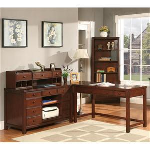 Riverside Furniture Avenue L-Shape Laptop Desk and Deck with Credenza