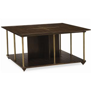 "Kaleidescope Home Caracole - New Traditional ""Brass Axis"" Cocktail Table"