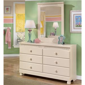 Signature Design by Ashley Cottage Retreat 6 Drawer Dresser and Mirror