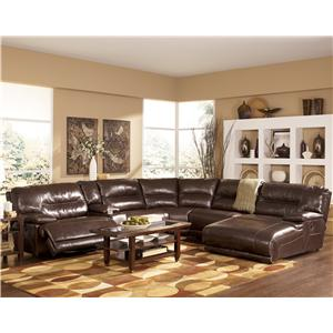 Signature Design by Ashley Exhilaration - Chocolate  Contemporary Leather Sectional