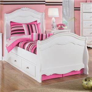 Signature Design by Ashley Furniture Exquisite Twin Sleigh Bed with Under Bed Storage