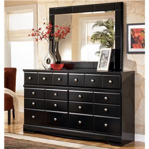 Signature Design by Ashley Shay 6 Drawer Dresser and Mirror Set