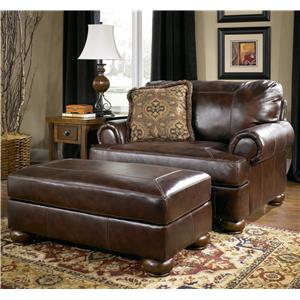 Signature Design by Ashley Axiom - Walnut Upholstered Chair-and-a-Half and Ottoman