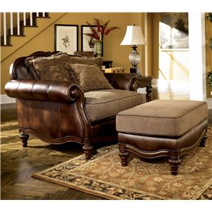 Signature Design by Ashley Furniture Claremore - Antique Chair and 1/2 and Ottoman