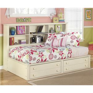 Signature Design by Ashley Cottage Retreat Twin Bookcase Bed with Footboard Storage