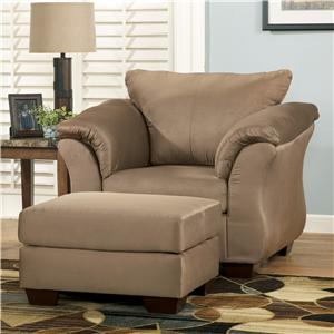 Signature Design by Ashley Furniture Darcy - Mocha Upholstered Chair and Ottoman