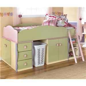 Signature Design by Ashley Doll House Loft Bed with Basket Space
