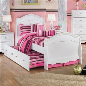 Signature Design by Ashley Furniture Exquisite Twin Sleigh Bed with Under Bed Trundle Panel