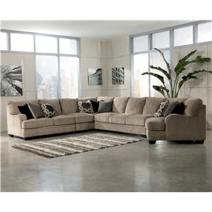 Signature Design by Ashley Katisha - Platinum 5-Piece Sectional Sofa with Right Cuddler