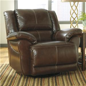 Signature Design by Ashley Lenoris - Coffee Swivel Power Rocker Recliner