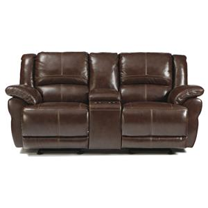 Signature Design by Ashley Lenoris - Coffee Glider Reclining Loveseat w/ Console