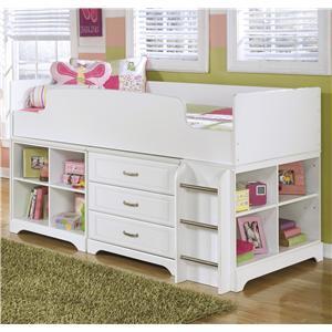 Signature Design by Ashley Lulu Twin Loft Bed w/ Loft Bin & Drawer Storage