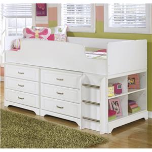Signature Design by Ashley Lulu Twin Loft Bed w/ Loft Drawer Storage