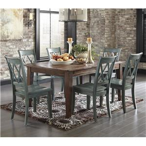 Signature Design by Ashley Mestler 7-Piece Table Set with Antique Blue Chairs