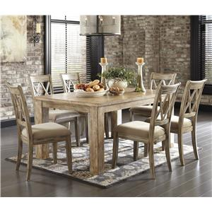 Signature Design by Ashley Mestler 7-Piece Table Set with Antique White Chairs