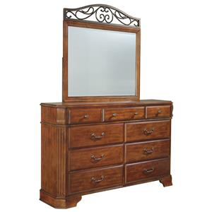 Signature Design by Ashley Wyatt 9 Drawer Dresser & Mirror