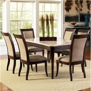 Steve Silver Marseille 7-Piece Marble Top Dining Set