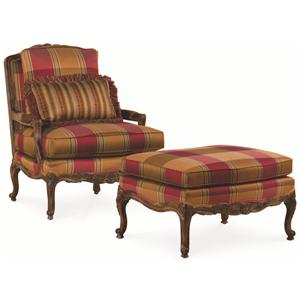 Thomasville® Upholstered Chairs and Ottomans  Exposed Wood Patriarch Chair and Ottoman