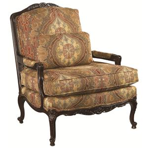 Thomasville® Upholstered Chairs and Ottomans Exposed Wood Patriarch Chair