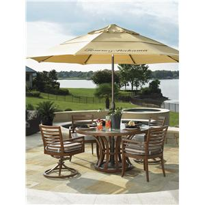Tommy Bahama Outdoor Living Ocean Club Pacifica 6 Piece Dining Table, Chair and Umbrella Set