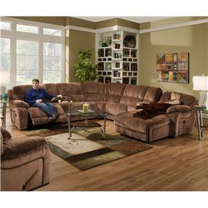 United Furniture Industries 661  Casual Reclining Sectional Sofa