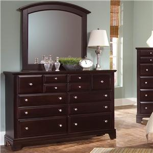Vaughan Bassett Hamilton/Franklin 7 Drawer Dresser with Landscape Mirror