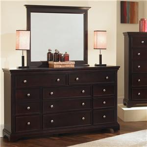 Vaughan Bassett Forsyth 8 Drawer Dresser and Mirror