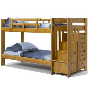 Woodcrest Heartland BR Twin Over Twin Reversible Stair Bunk