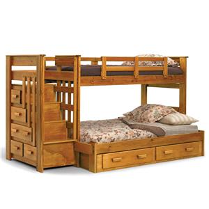 Woodcrest Heartland BR Twin/Full Stairway Bunk Bed