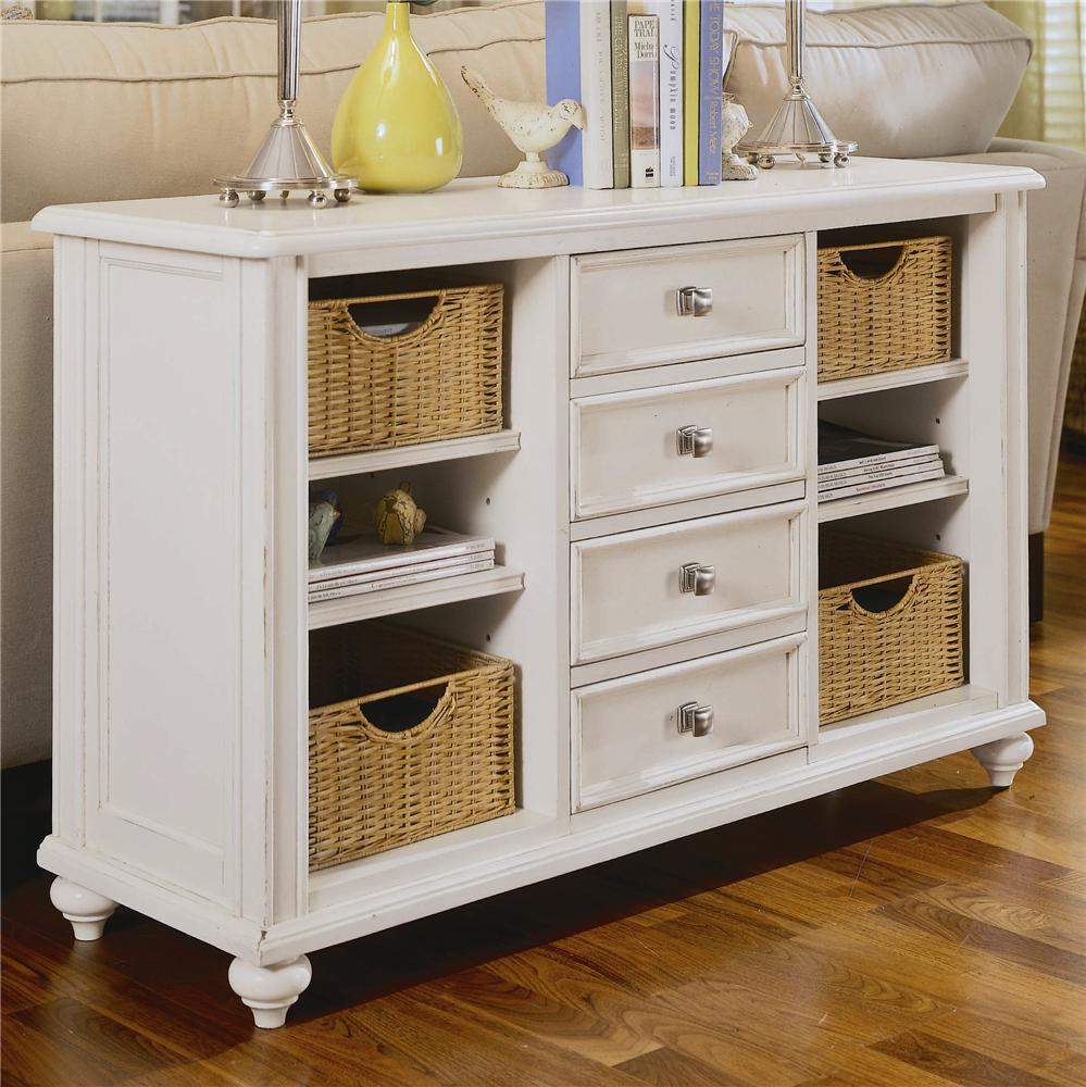 Console table with 4 drawers and 4 baskets by american for Sofa table storage