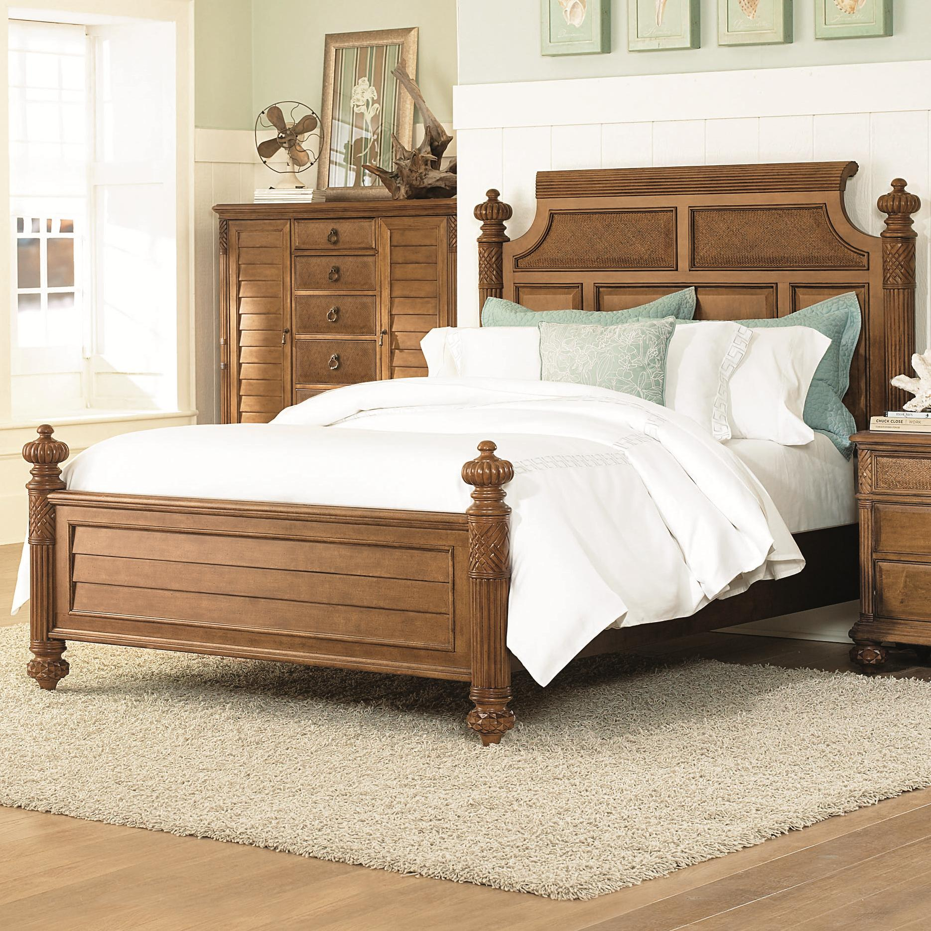Queen size island headboard footboard bed with woven for Queen size footboard