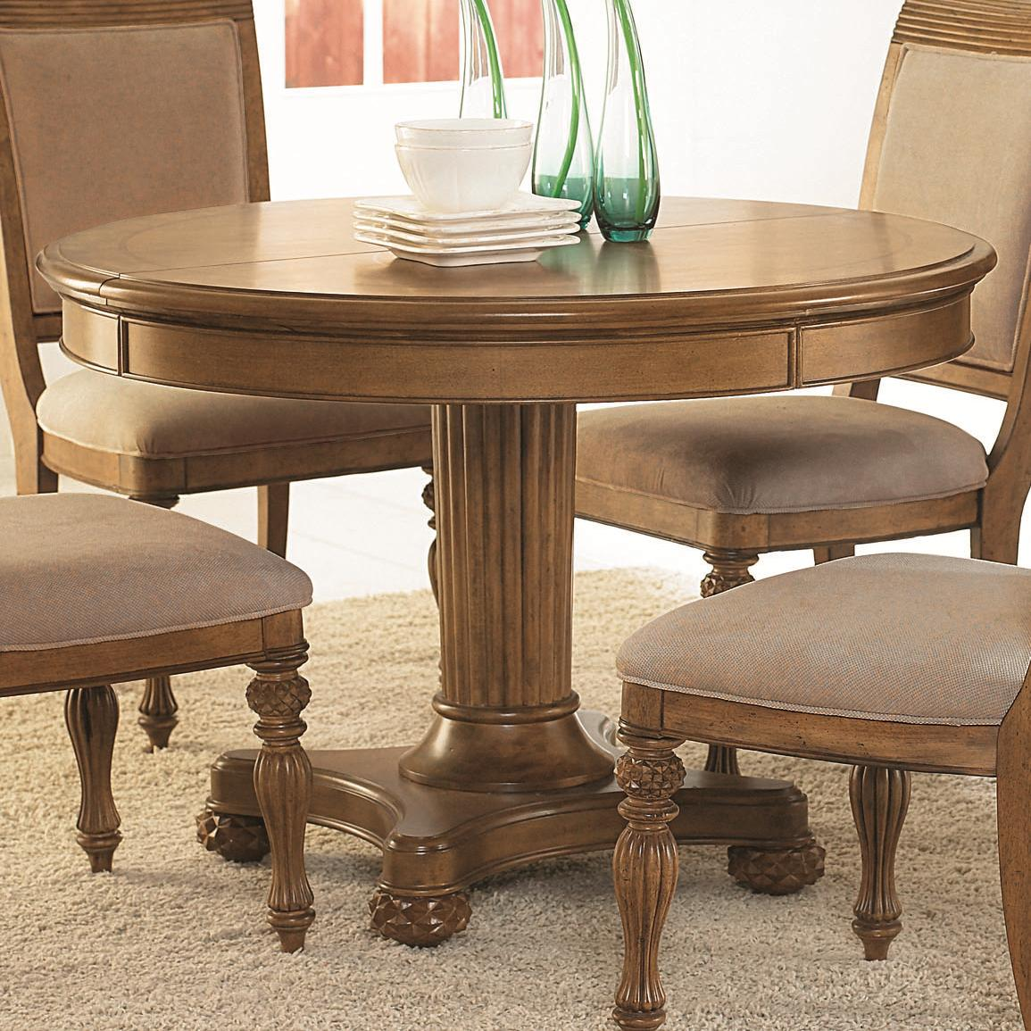 piece round pedestal dining table side chairs with upholstered