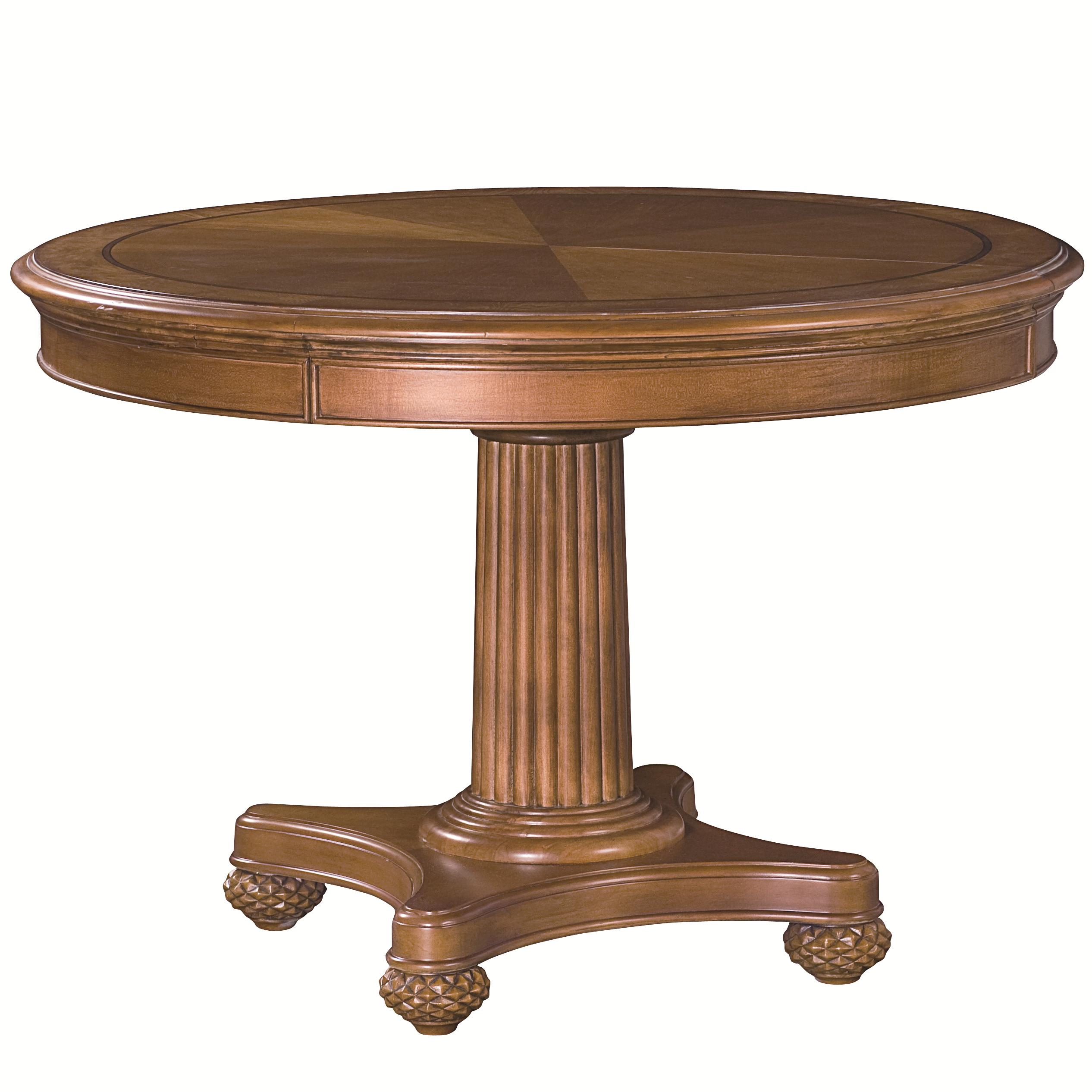 Round single pedestal dining table with fluted details for Dining room table replacement leaf